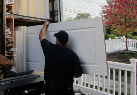 Loading interior doors into truck