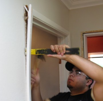 removing casing for old door to install new prehung interior door