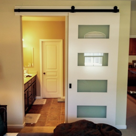 Barn door bathroom door